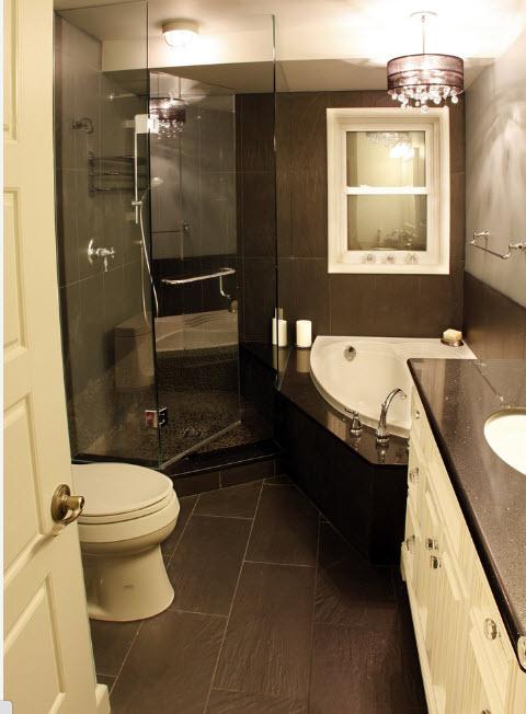 Ванная комната в шоколадных тонах