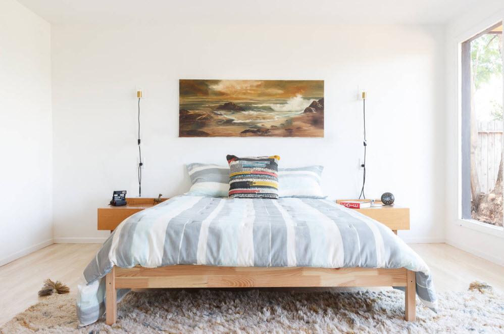 Просторная спальня в скандинавской стилистике