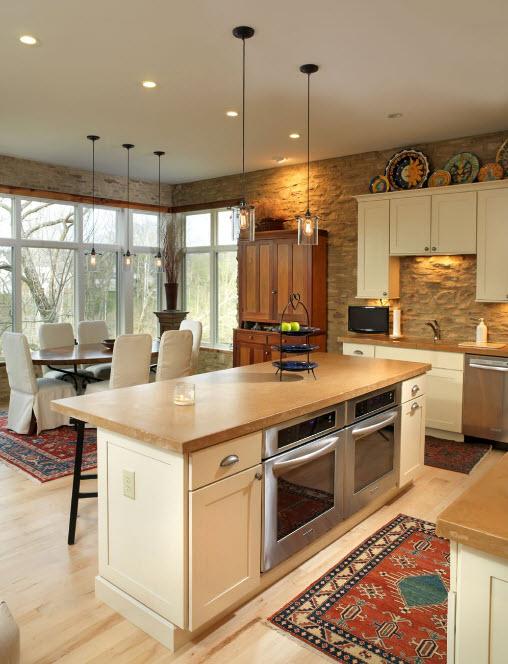 Декоративный камень в кухне