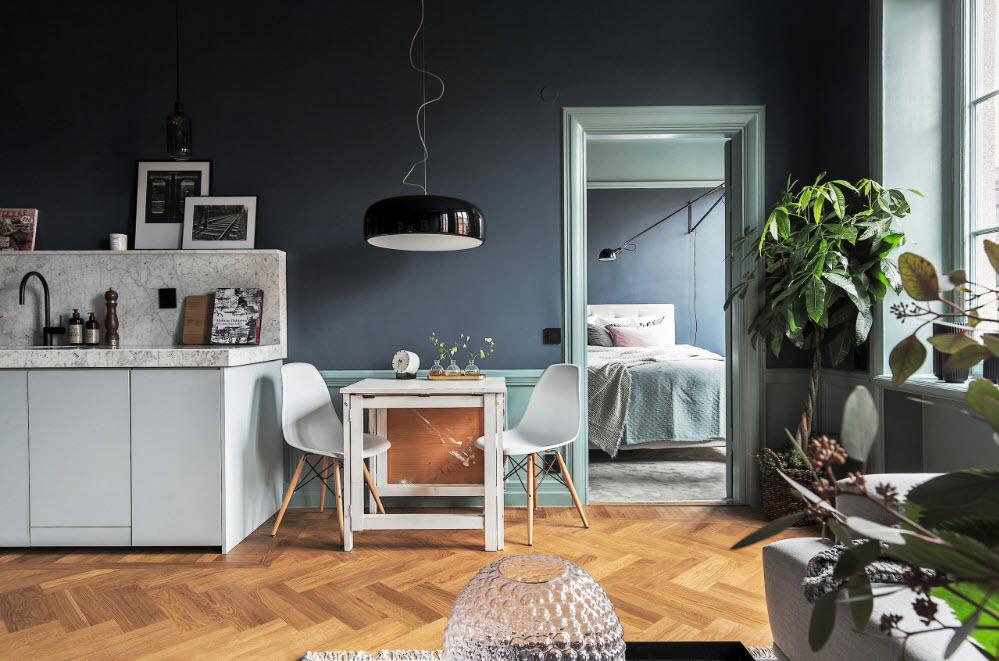 Белая мебель на темном фоне