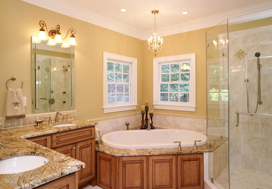 Овальная ванна в углу помещения