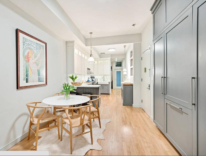 Открытая планировка в кухонном помещении