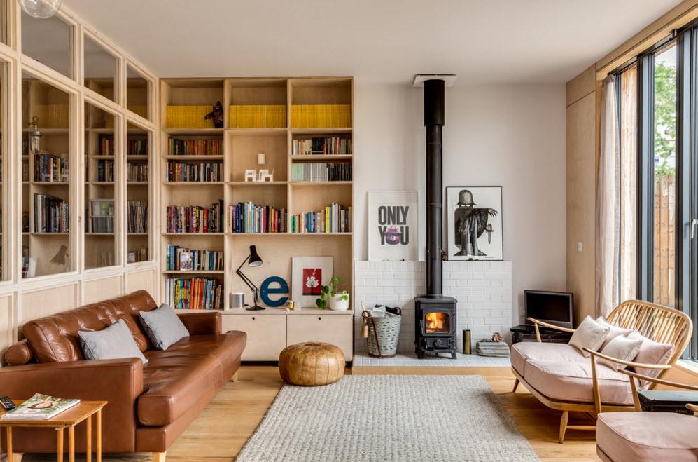 Оригинальный дизайн уютной гостиной