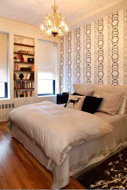 Освещение спальни средних размеров