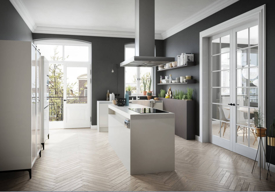Креативный дизайн большой кухни