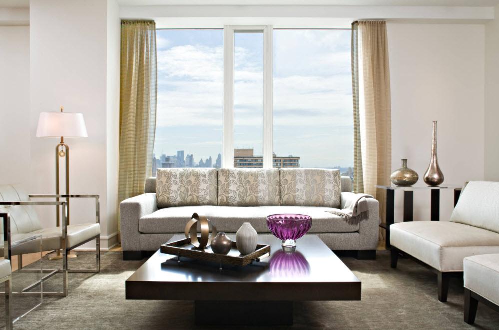 Легкие шторы для интерьера гостиной