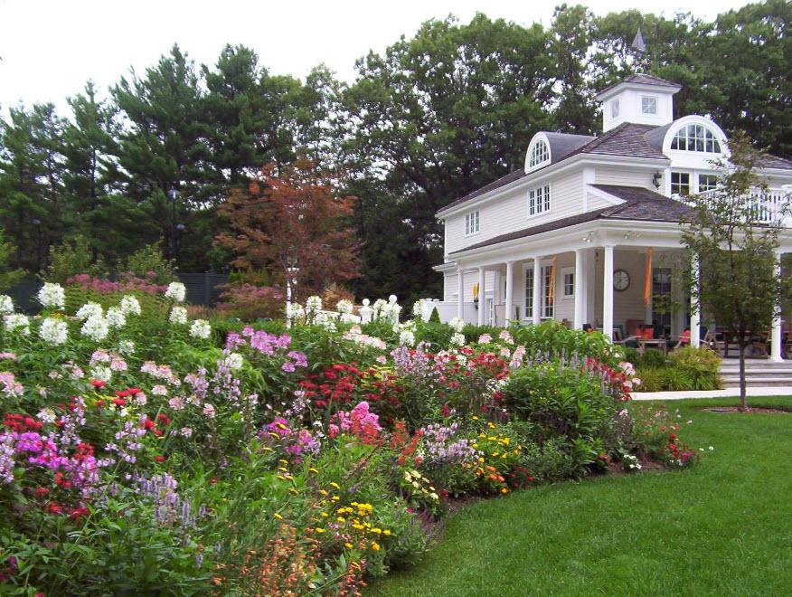 Цветочные клумбы перед домом