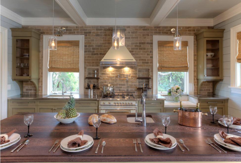 Кирпичная кладка в кухонном дизайне