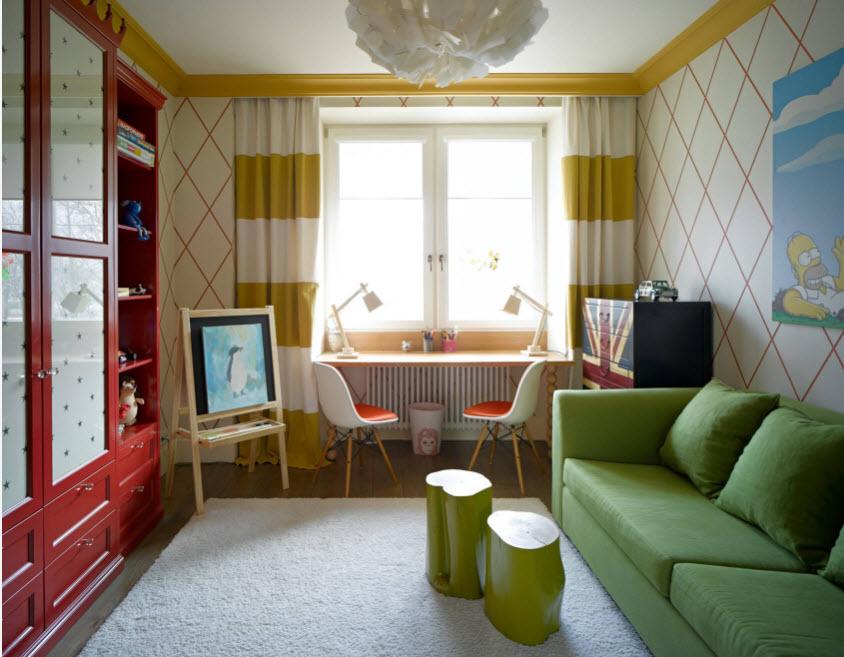 Колоритный интерьер комнаты школьницы