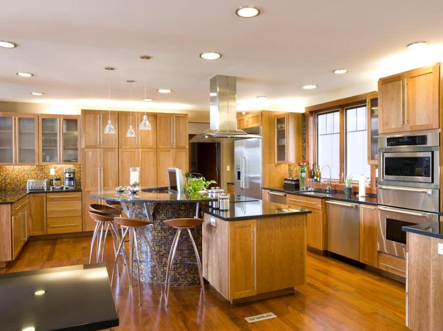 Освещение кухни-студии