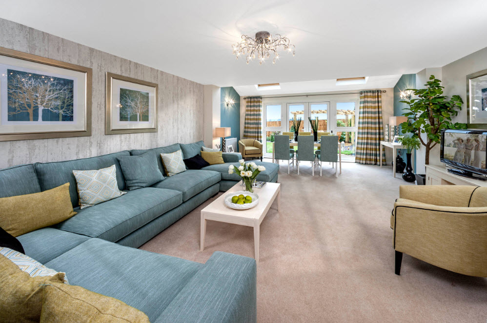 Угловой диван для совмещенной гостиной