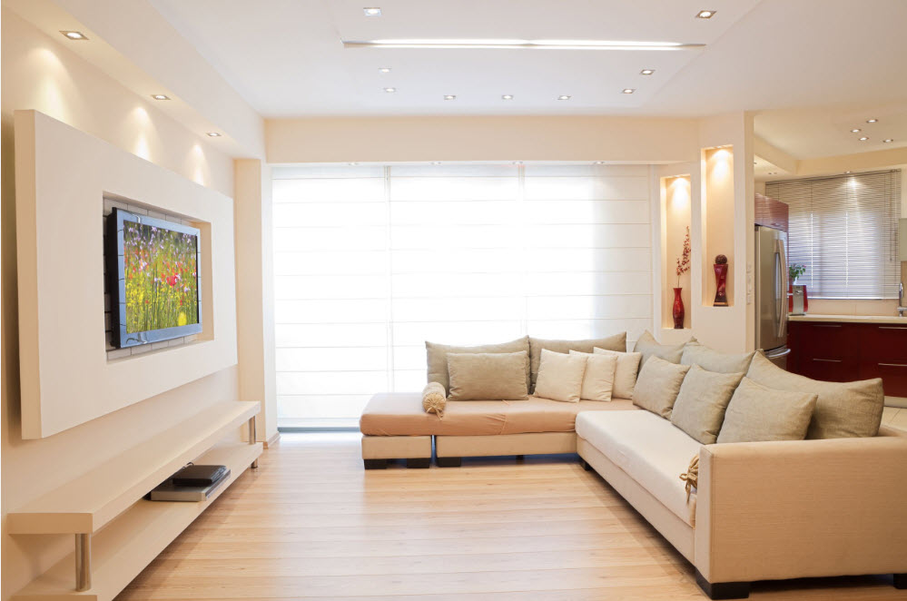 Выделение зоны гостиной с помощью мебели