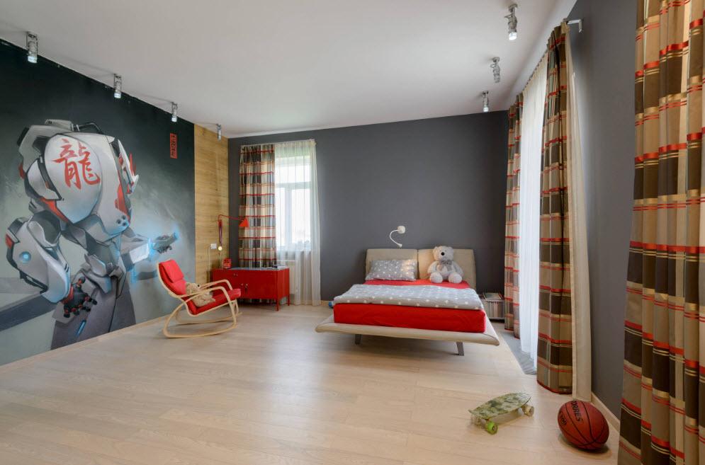 Оформление просторной комнаты для мальчика