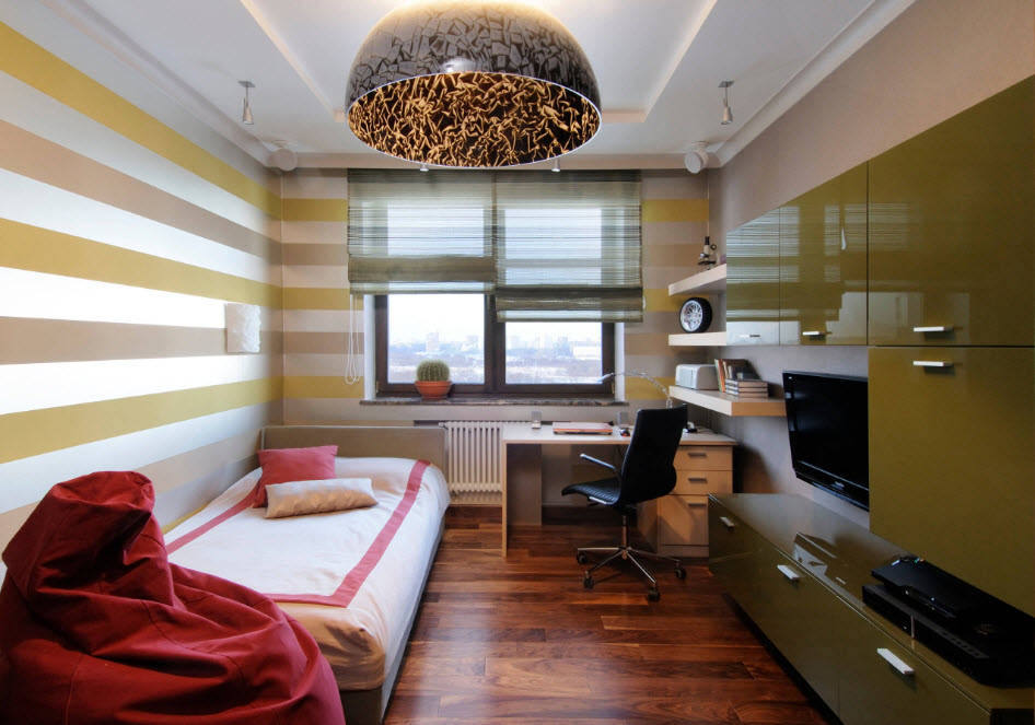 Горизонтальные полосы в комнате подростка