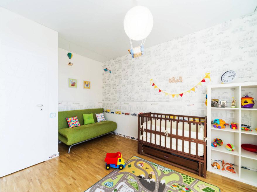 Белоснежные тона в комнате младенца