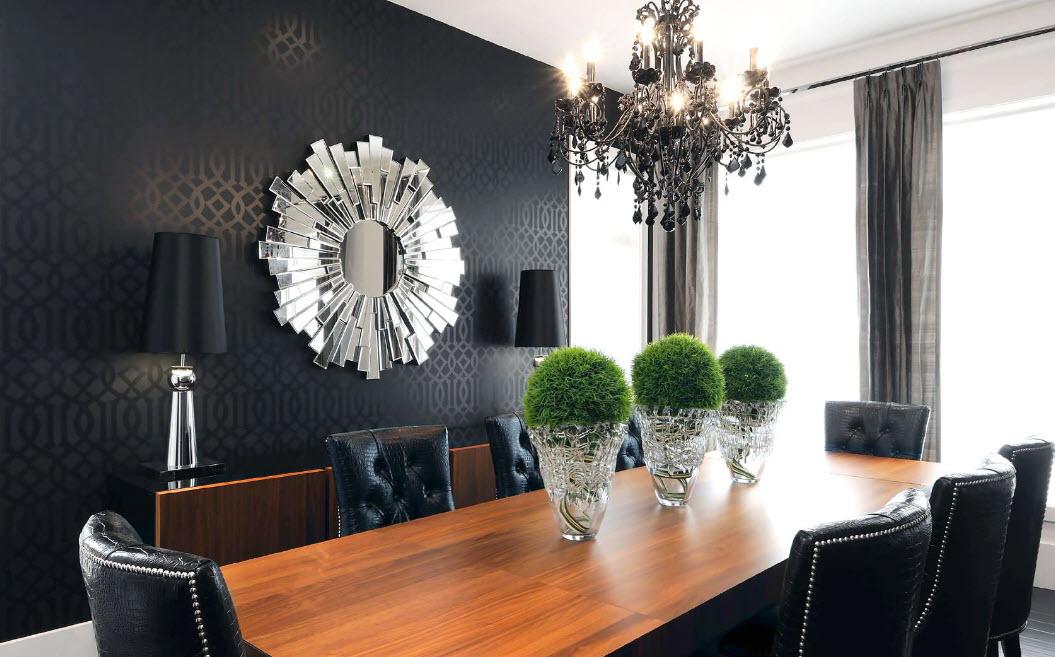 Зеркальный декор в столовой