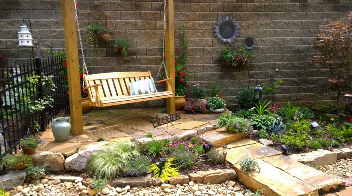 Дизайн садовых качелей