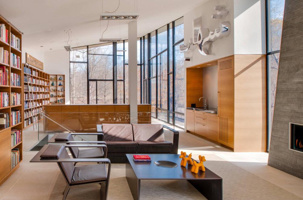 Оригинальный дизайн совмещенной гостиной