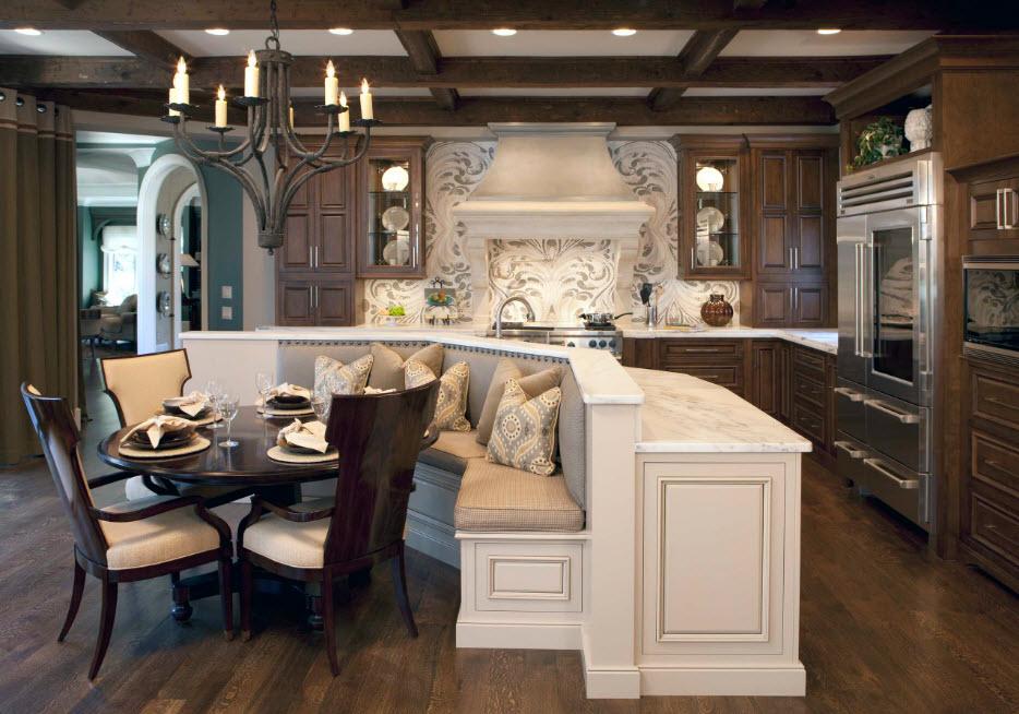 Зонирование в просторной кухне