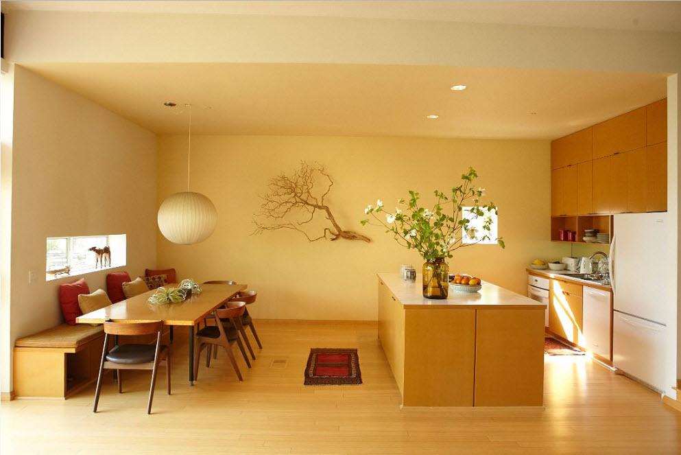 Дизайн кухни-столовой в песочных тонах