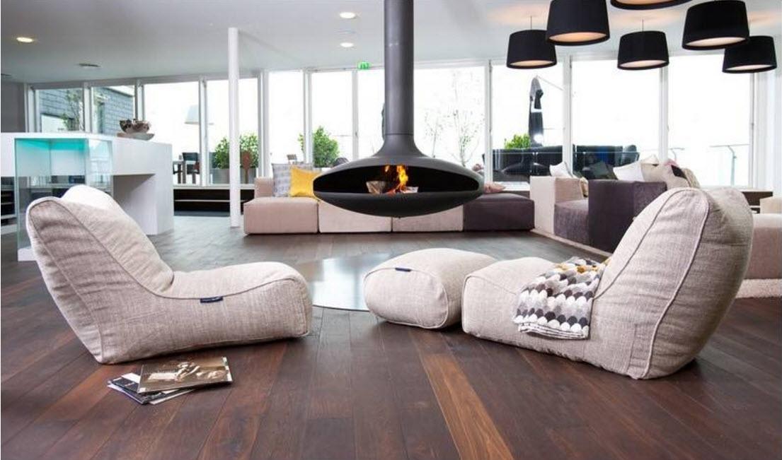 Кресло-мешок в дизайне гостиной