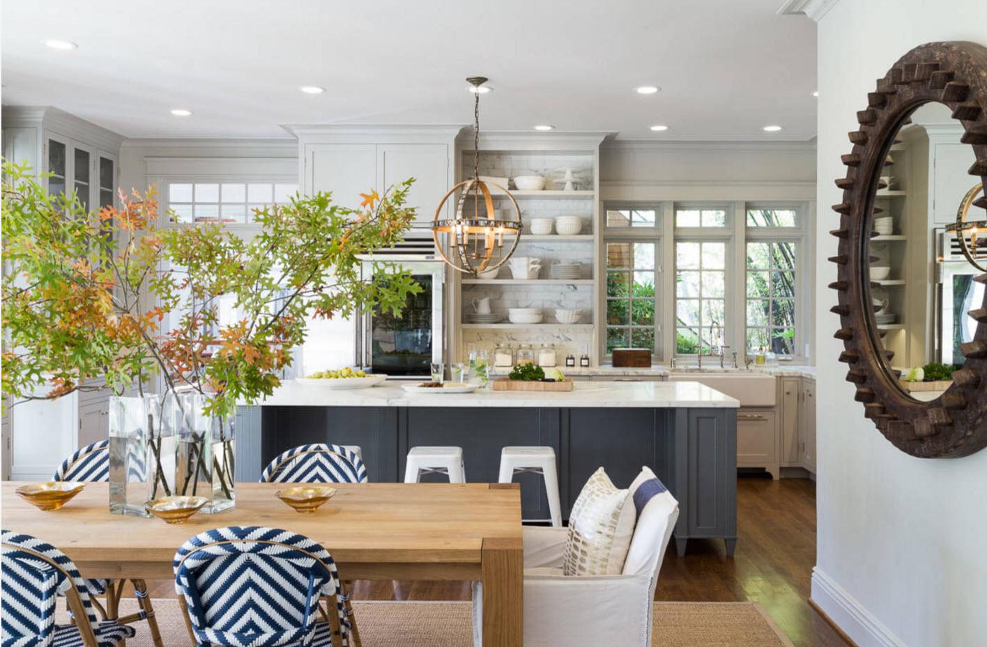 Кухня-столовая-гостиная в серых тонах