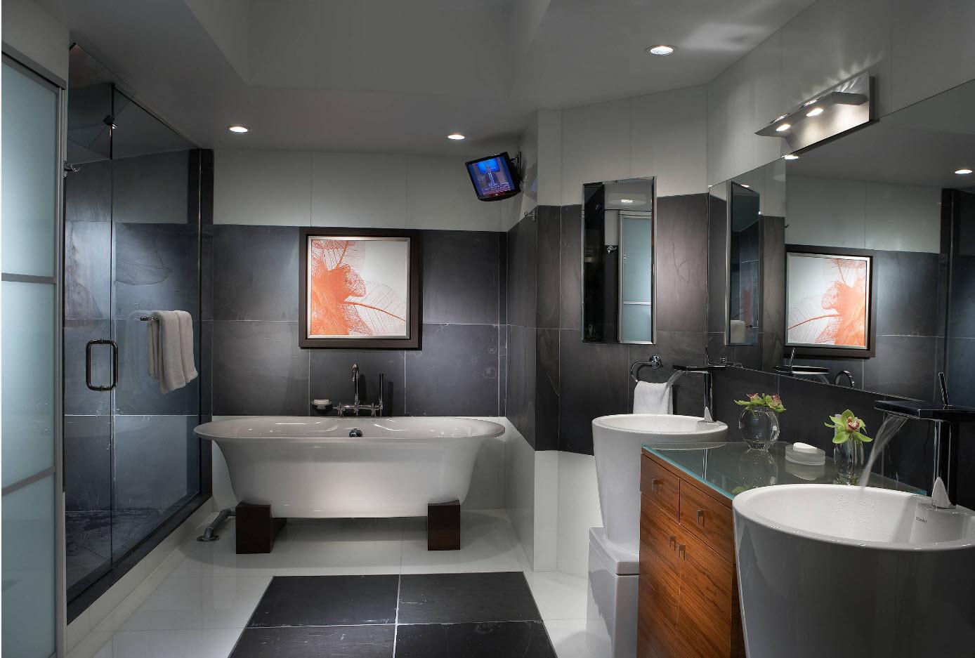 Яркие акценты в сером дизайне ванной