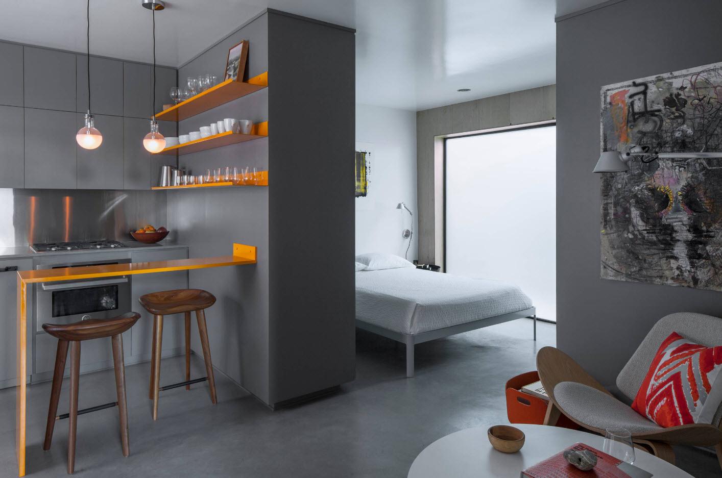 Шкаф-перегородка между спальней и кухней