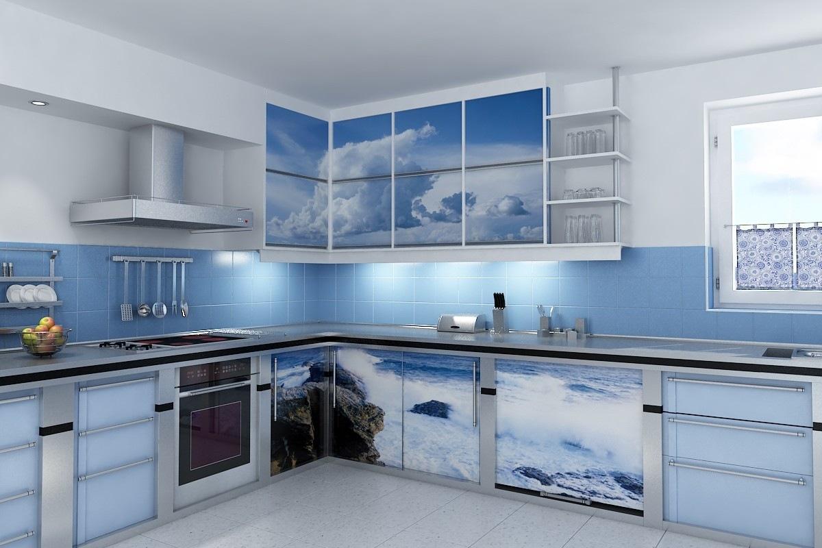 Фотопечать на фасадах кухонных шкафов
