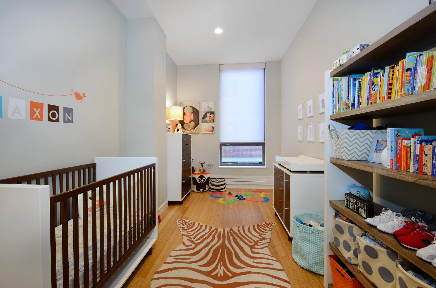 Дизайн длинной и узкой комнаты для младенца