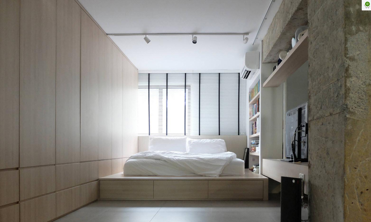 Кровать на подиуме с ящиками