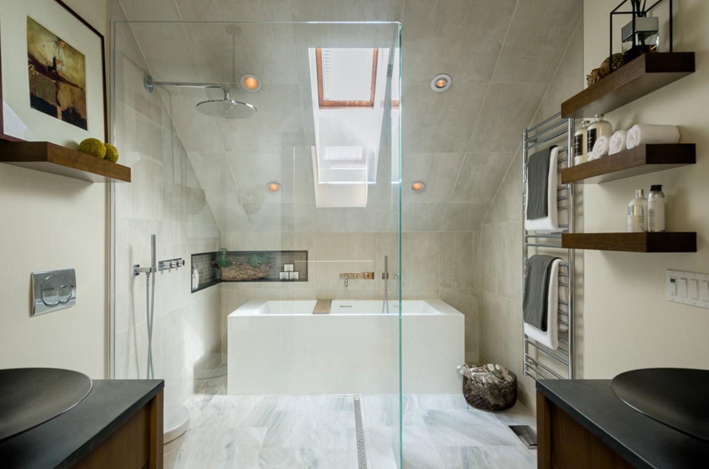 Интерьер ванной на чердаке
