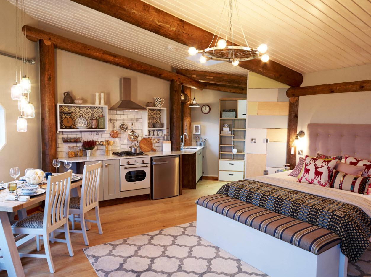 Спальня-гостиная-кухня-столовая