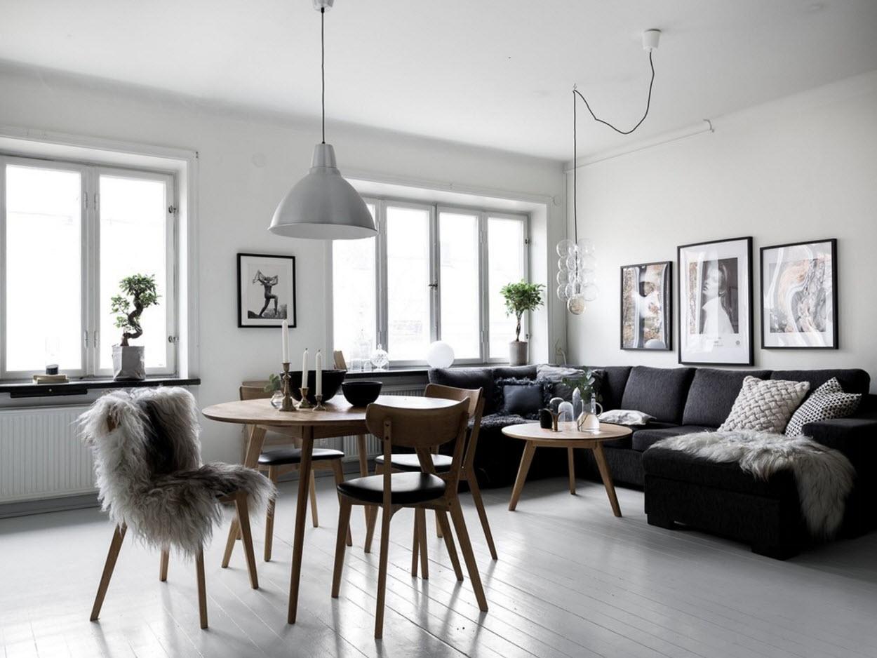 Контрастная гостиная-столовая