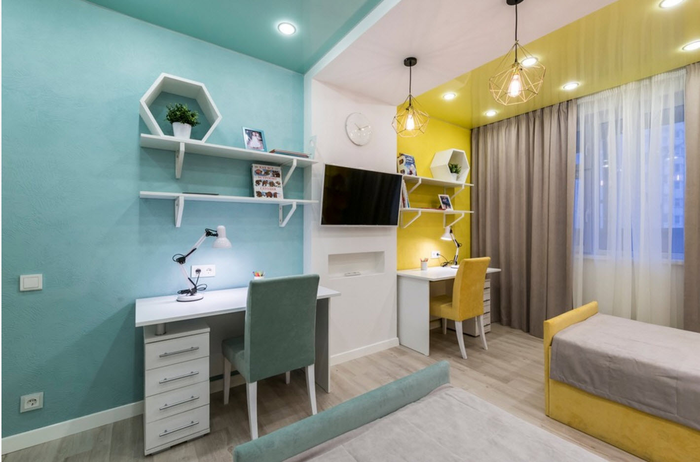 Зонирование мебелью и цветом