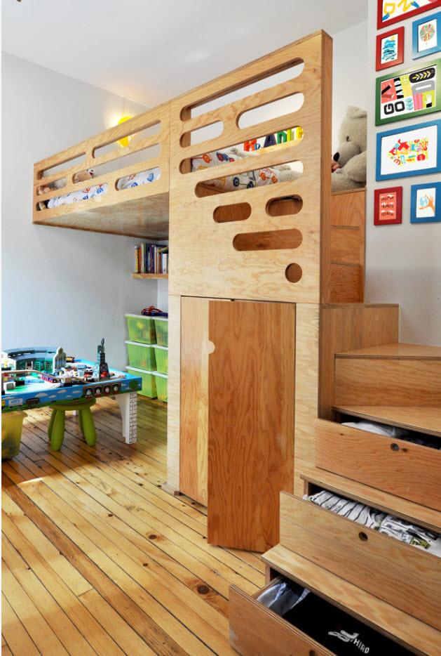 Кровать-чердак с системами хранения