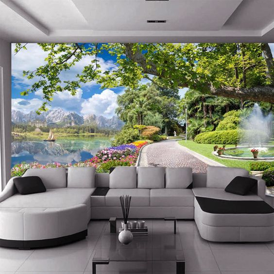 Яркий пейзаж в гостиной
