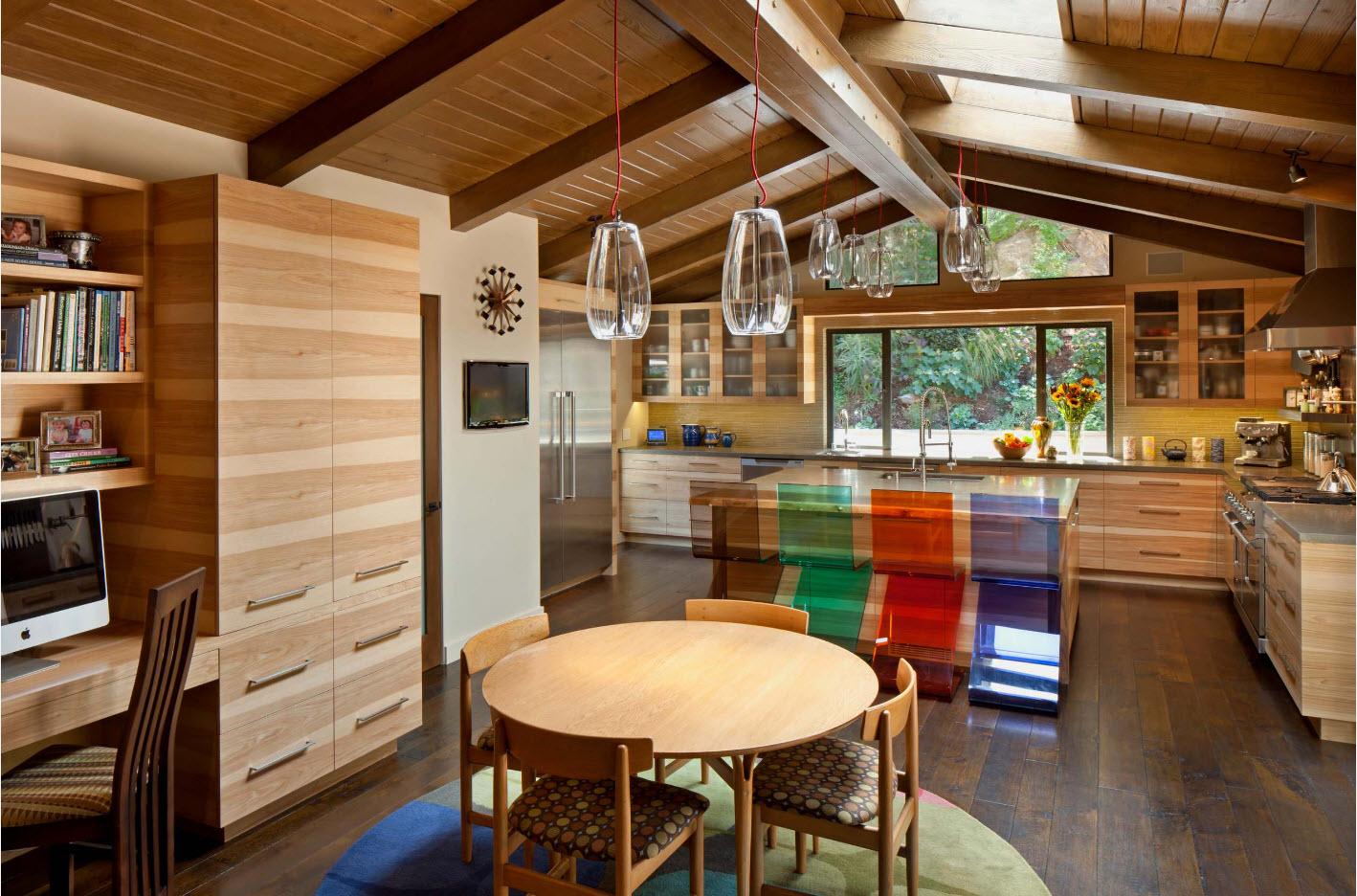 Обилие деревянных поверхностей