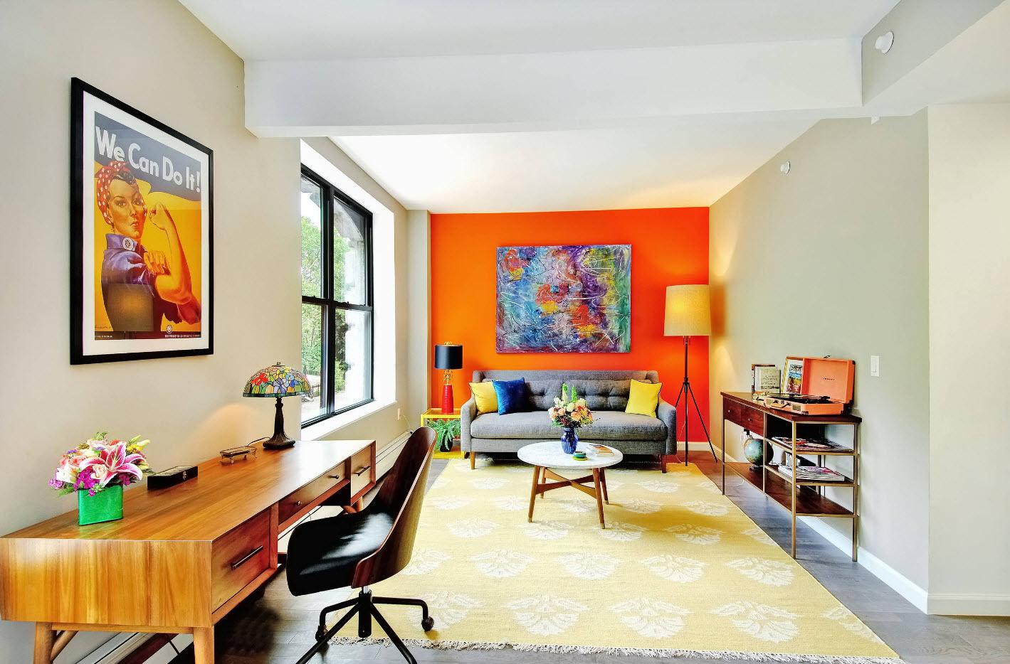 Оригинальный дизайн современной гостиной