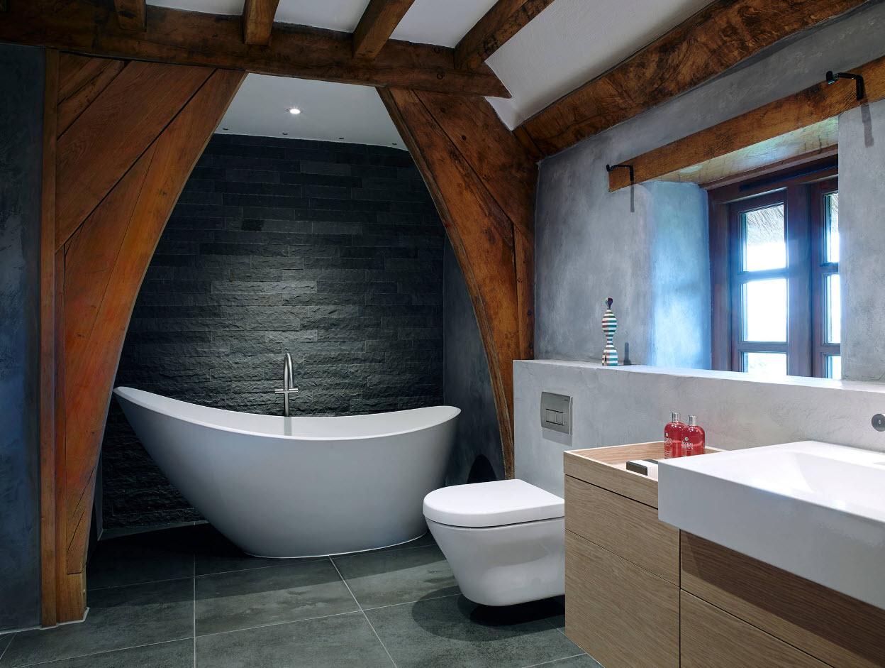 Рустикальные элементы в ванной