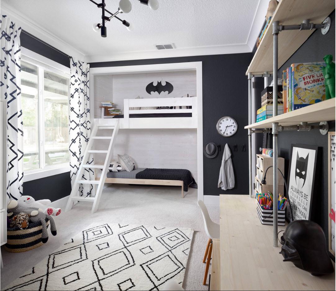 Контрастный дизайн комнаты для двоих