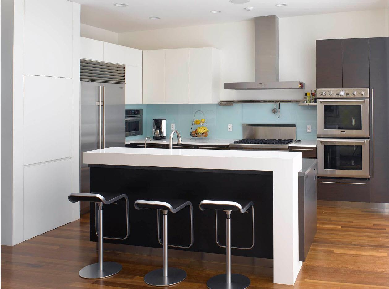 Белоснежная стойка в современной кухне