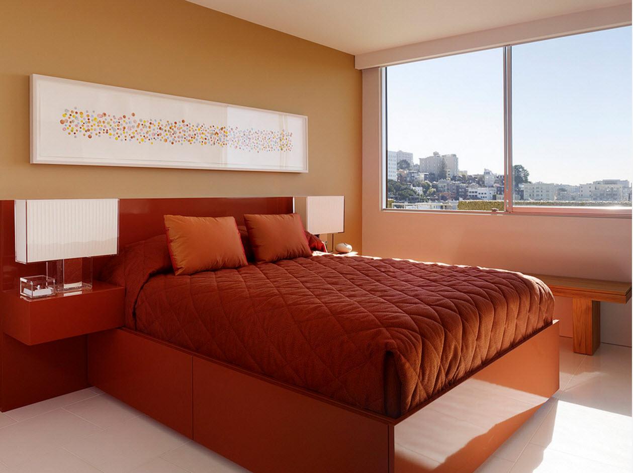 Спальня в теплой цветовой гамме