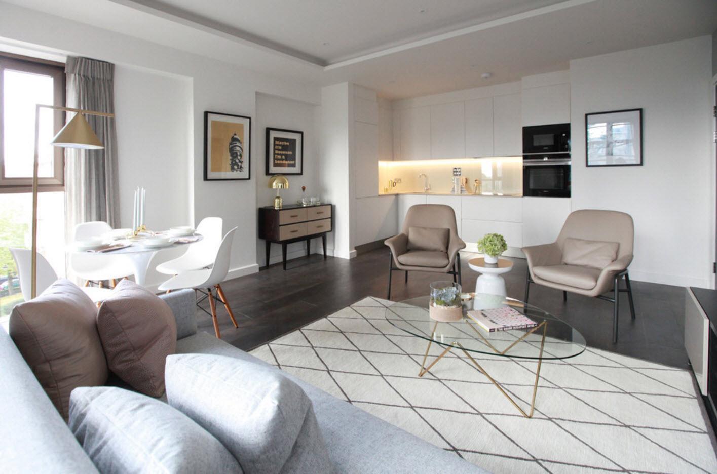 Гостиная, совмещенная с кухней и столовой
