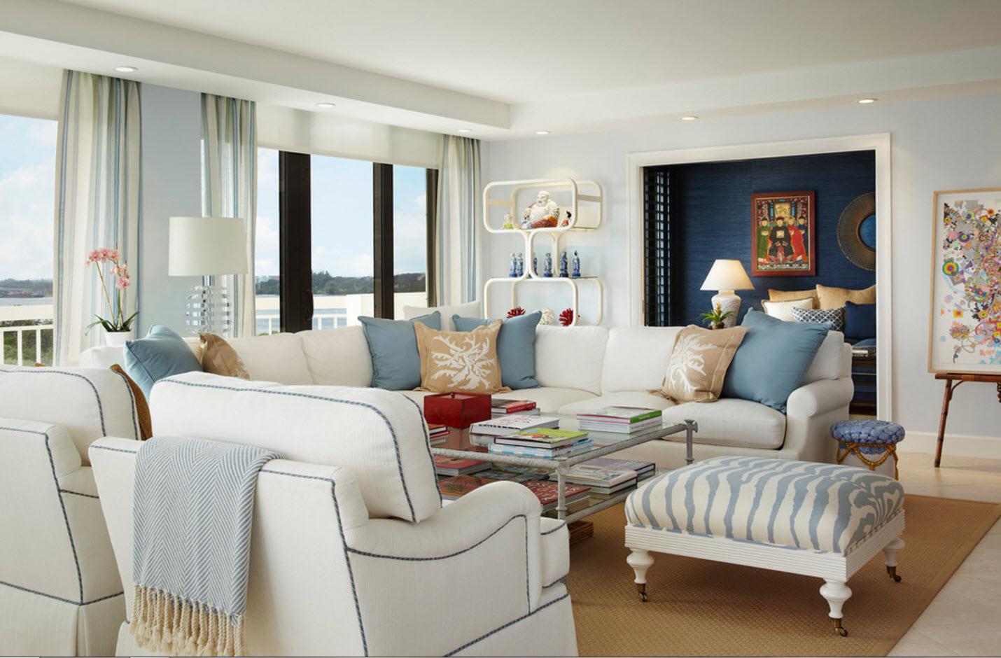 Дизайн светлой и просторной гостиной