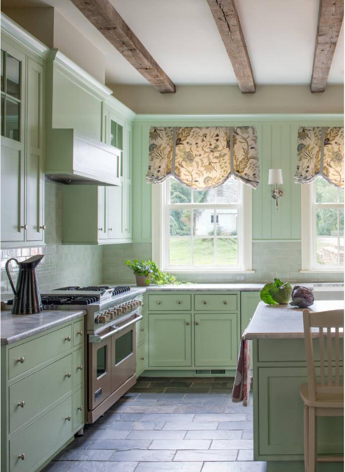 Ткань для светло-мятной кухни