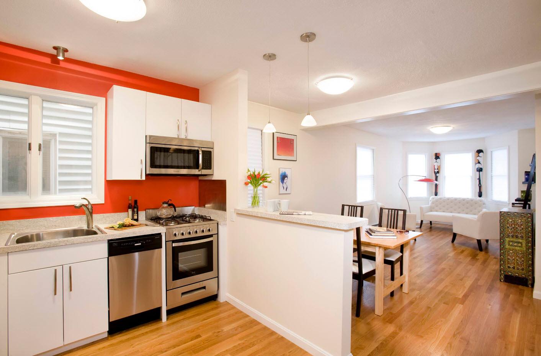 Яркое оформление кухонной зоны