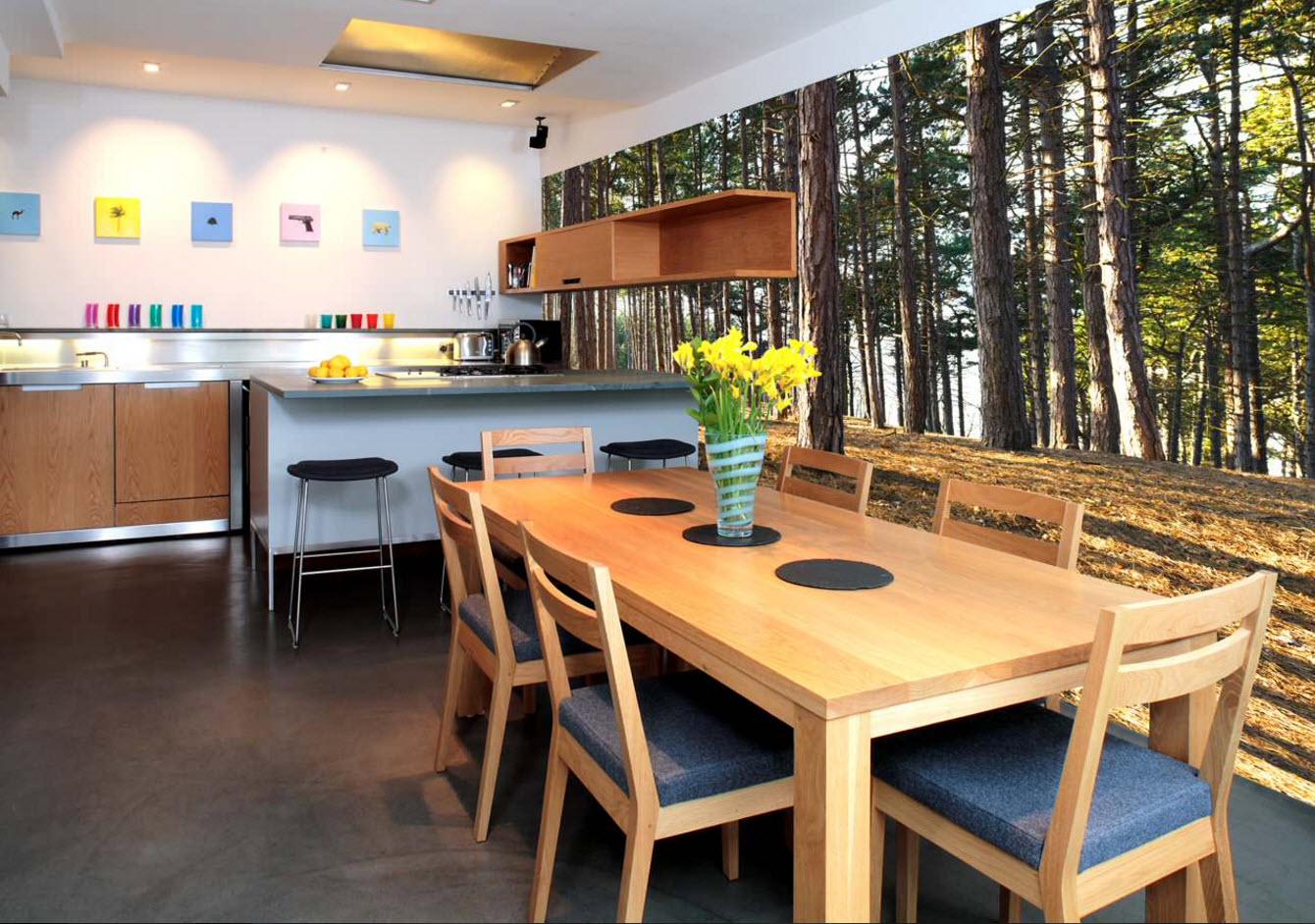 Лес в кухонном помещении