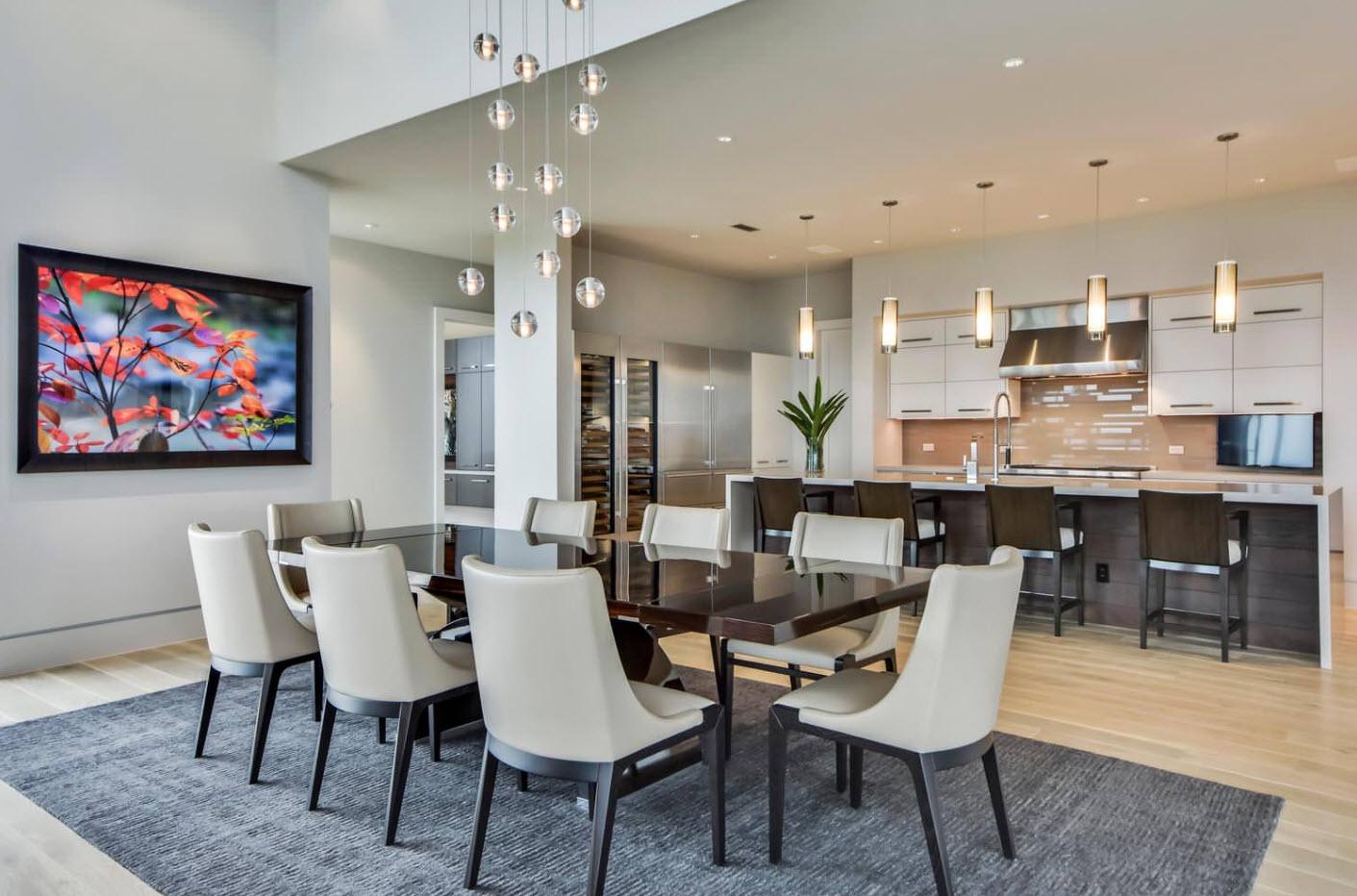 Кухня-столовая в просторной комнате