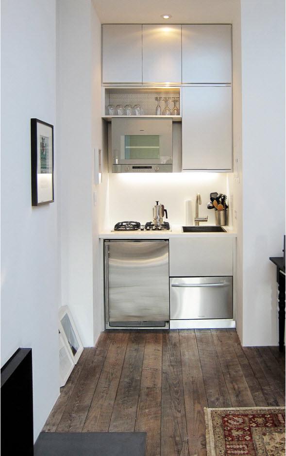 Мини-кухня в белом цвете